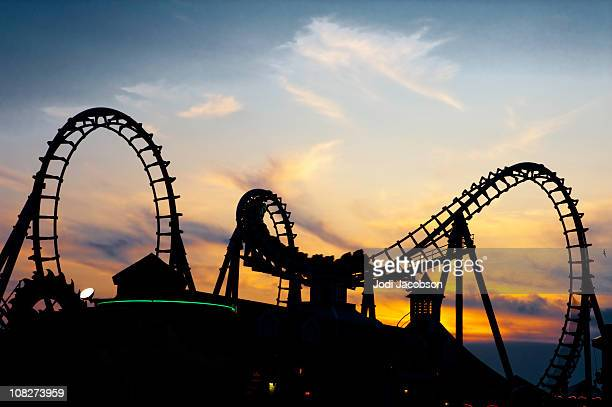 rollercoaster in the sunset