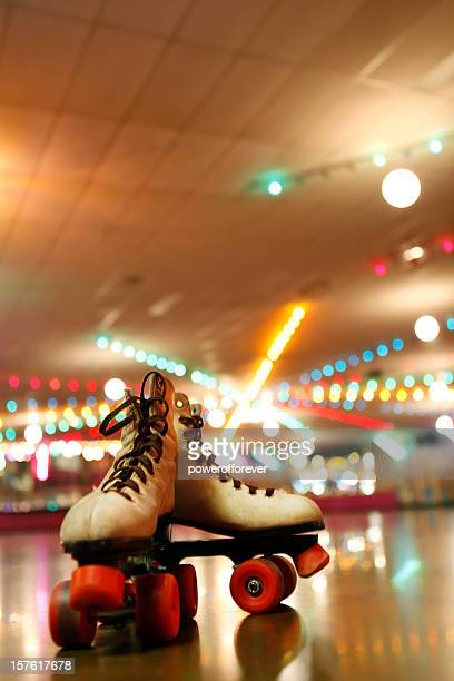 rollerskates in the roller disco - roller skating stock photos and pictures