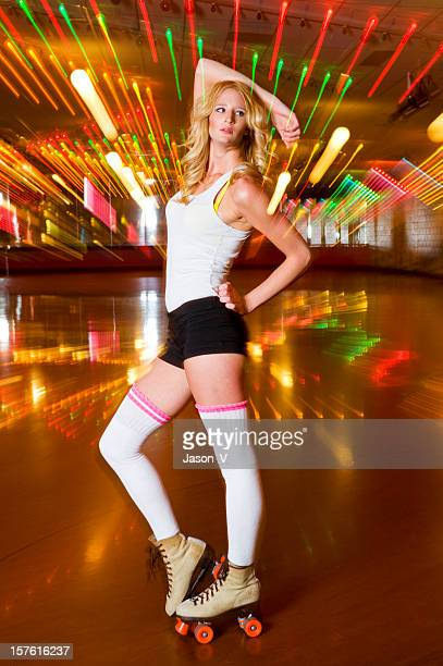 rollerskating diva - roller rink stock photos and pictures