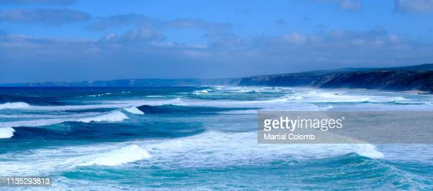 rolling atlantic ocean in algarve - martial stock pictures, royalty-free photos & images