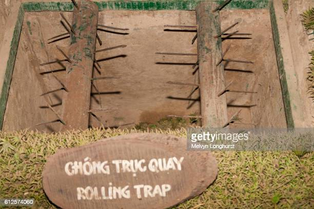 a rolling booby trap at ben dinh, cu chi, near ho chi minh city, (saigon), vietnam - booby trap stock pictures, royalty-free photos & images