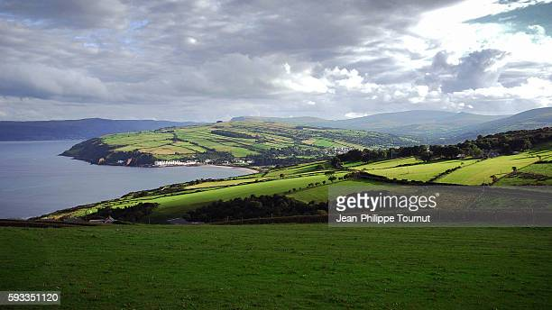 rolling countryside near the glens of antrim, northern ireland - county antrim stock pictures, royalty-free photos & images