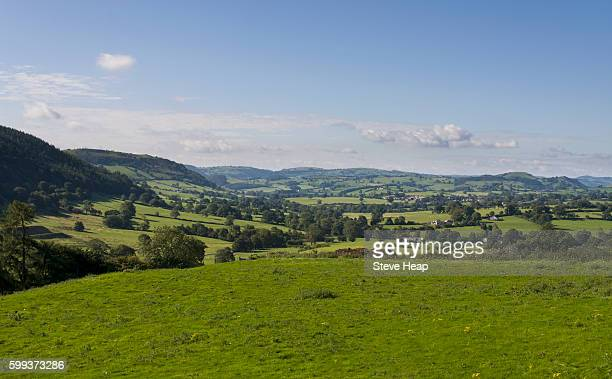 Rolling countryside on the border of England and Wales near Oswestry, Shropshire, UK