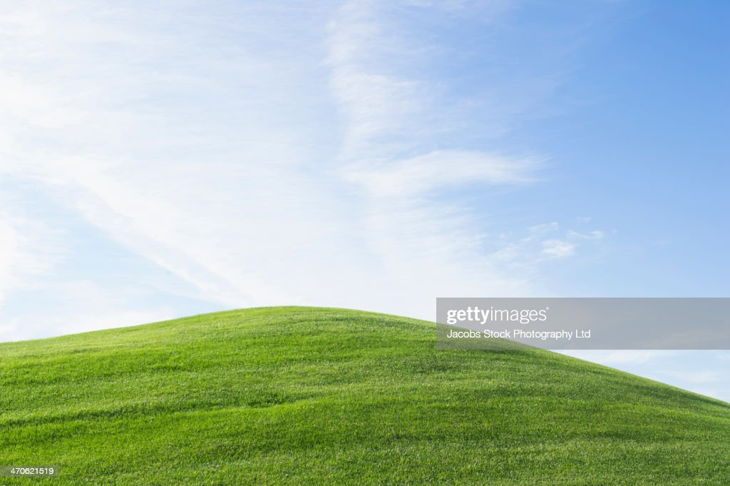 Rolling green hill under blue sky : Stock Photo