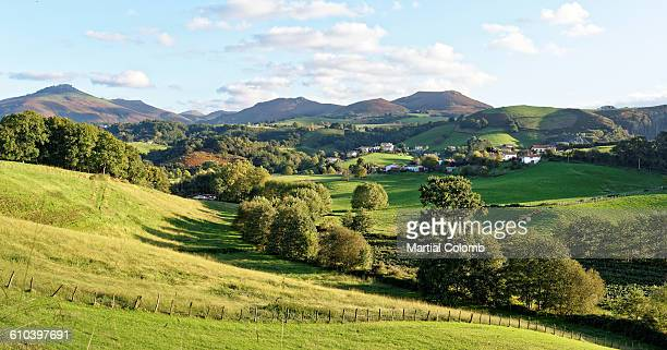 rolling hills in basque country - aquitaine stock photos and pictures