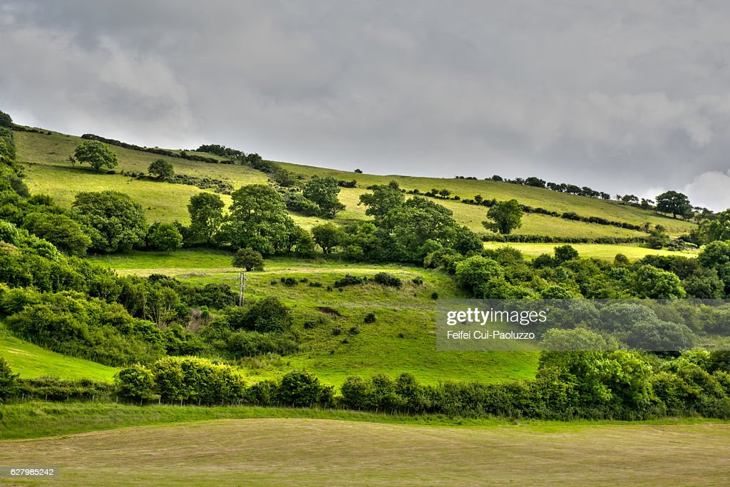 Rolling landscape near Carnlough in County Antrim, Northern Ireland : Stock Photo