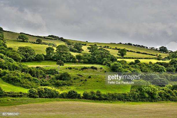 rolling landscape near carnlough in county antrim, northern ireland - county antrim stock pictures, royalty-free photos & images