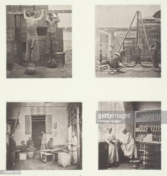Rolling Scented Caper and Gunpowder Teas; Weighing Tea for Exportation; A Tea House, Canton; A Tea-Tasting Room, Canton, circa 1868. A work made of...