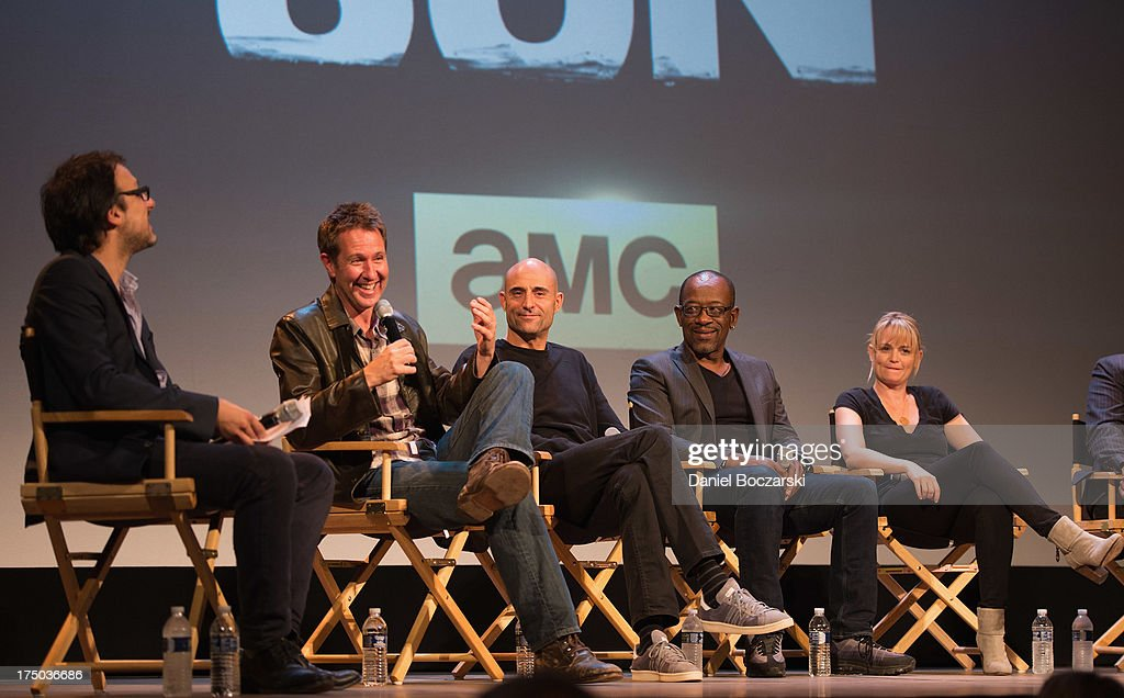 Rolling Stone Contributing Editor Mark Binelli, Chris Mundy, Mark Strong, Lennie James and Sprague Grayden attend AMC's 'Low Winter Sun' cast Q&A with Art House Convergence on July 29, 2013 in Ann Arbor, Michigan.