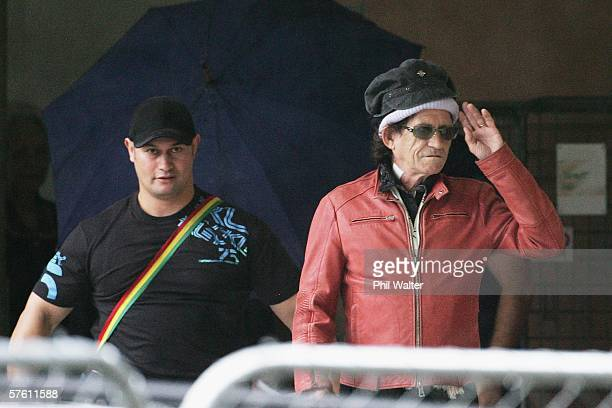 Rolling Stone guitarist Keith Richards leaves the Ascot Hospital following brain surgery May 11 2006 in Auckland New Zealand Richards has been in...