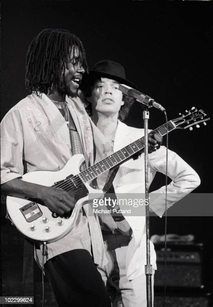 MERCHANDISING** Rolling Stone Mick Jagger and reggae musician Peter Tosh on stage at the Palladium Theatre in New York 1978