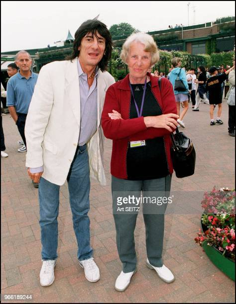 Rolling Stone Ronnie Wood with Larissa Preobrazhenskaya who has been Anna Kournikova's coach since the player was 7 years old