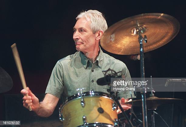 Rolling Stones Charlie Watts performs on the stage of McNichols Sports Arena on Tuesday