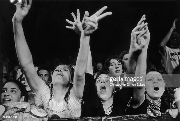 Rolling Stones fans get excited during a concert on the group's 1975 Tour of the Americas