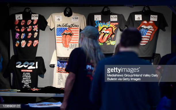 Rolling Stones fans shop for t-shirts and other tour merchandise prior to the first of two shows at SoFi Stadium as a part of the bands No Filter...