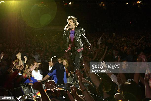 Rolling Stones frontman Mick Jagger on stage during the band's 'Licks' tour at the Gillette Stadium on September 5 2002 in Boston Massachusetts USA