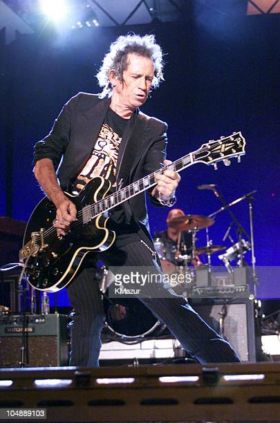 Rolling Stones guitar player Keith Richards during American Express Central Park in Blue Concert at Central Park in New York City New York United...