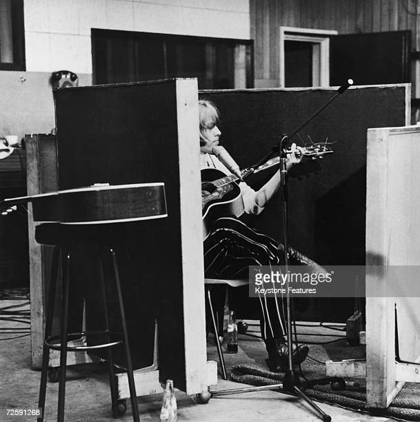 Rolling Stones guitarist Brian Jones at Olympic Studios during the recording of the album 'Beggars Banquet', July 1968.