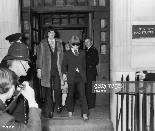 Rolling Stones guitarist Brian Jones leaves West London Magistrates Court in Kensington, West London on the 11th of May 1967 after being charged with...