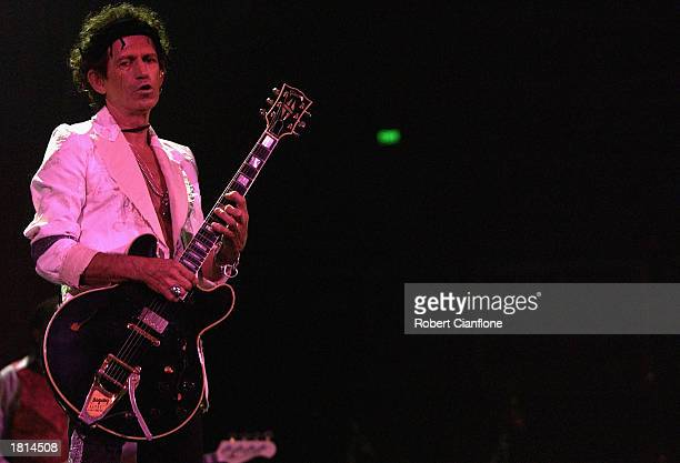 Rolling Stones' guitarist Keith Richards performs at the Rod Laver Arena February 25 2003 in Melbourne Australia The Rolling Stones will play in...