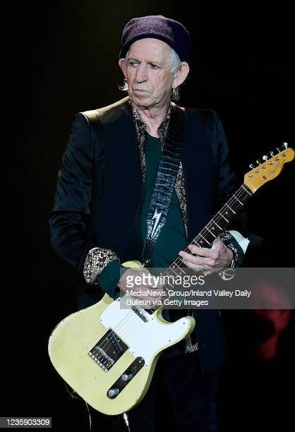 Rolling Stones guitarist Keith Richards performs during the first of two shows at SoFi Stadium as a part of the bands No Filter Tour in Inglewood on...