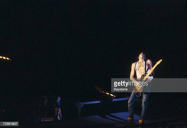 Rolling Stones guitarist Keith Richards performs on stage at the Syracuse Carrier Dome New York 28th November 1981