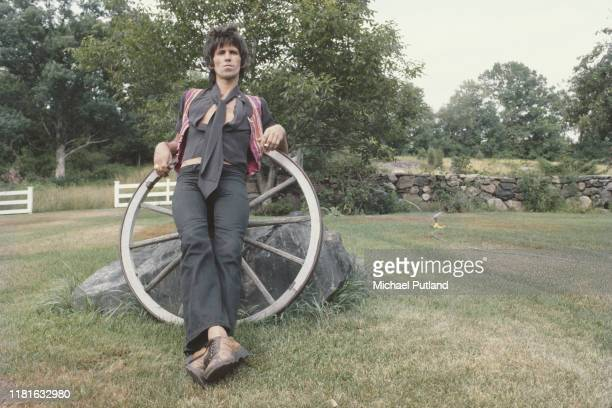 Rolling Stones guitarist Keith Richards posed in the garden of his house in South Salem, New York State in 1978.