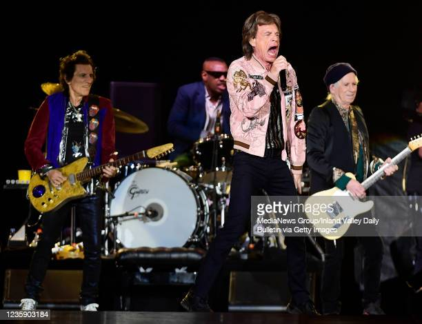 Rolling Stones guitarist Ron Wood , drummer Steve Jordan , Mick Jagger , and guitarist Keith Richards perform during the first of two shows at SoFi...