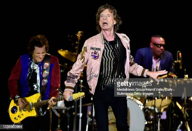 Rolling Stones guitarist Ron Wood , Mick Jagger and drummer Steve Jordan perform during the first of two shows at SoFi Stadium as a part of the bands...
