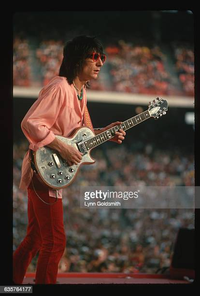 1981 Rolling Stones guitarist Ron Wood on stage performing