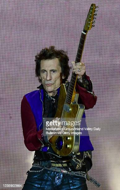 Rolling Stones guitarist Ron Wood performs during the first of two shows at SoFi Stadium as a part of the bands No Filter Tour in Inglewood on...