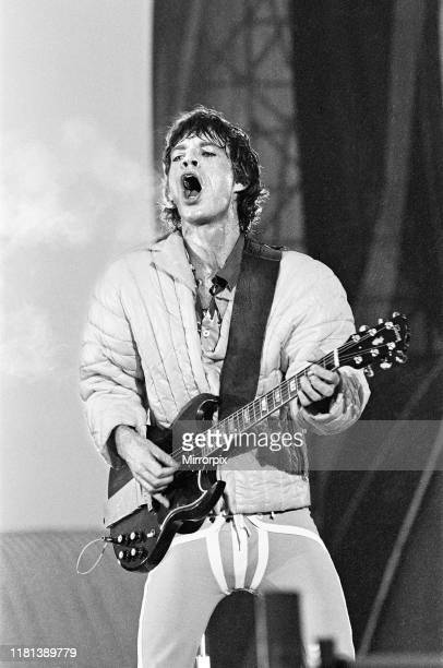 Rolling Stones in concert at St James Park, Newcastle. Lead singer Mick Jagger onstage. 23rd June 1982