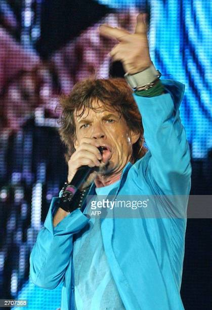 Rolling Stones lead singer Mick Jagger performs in Hong Kong 07 November 2003 in the first of two concerts by the British rockers who headlined a...