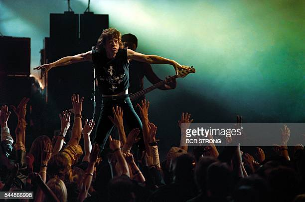 Rolling Stones lead singer Mick Jagger performs on September 8 1994 at the MTV Video Music Awards in New York The Stones were honoed with a Special...