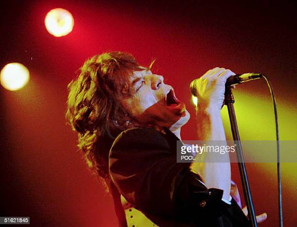 """Rolling Stones lead singer Mick Jagger sings at Webster Hall 09 February 1993, performing songs from his new solo album """"Wandering Spirit."""" Jagger..."""