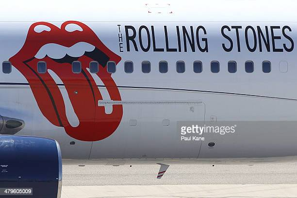 Rolling Stones livery is seen on the Aeronexus Corporation's Boeing 767 used by the Rolling Stones as the aircraft is prepared in readiness for...