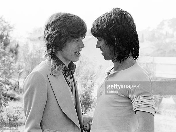 Rolling Stones Mick Jagger and Keith Richards on the morning of Mick's wedding to Bianca PerezMora Macias in St Tropez France on 12th May 1971
