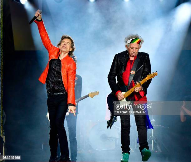 Rolling Stones' Mick Jagger and Keith Richards perform during a concert at Berlin's Olympic Stadium on June 22 2018