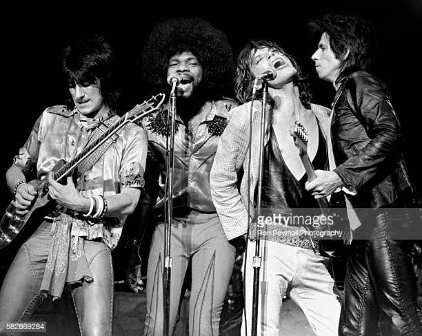 Rolling Stones performing at Madison Square Garden NYC June 24 1975 LR Ronnie Wood Billy Preston Mick Jagger Keith Richard