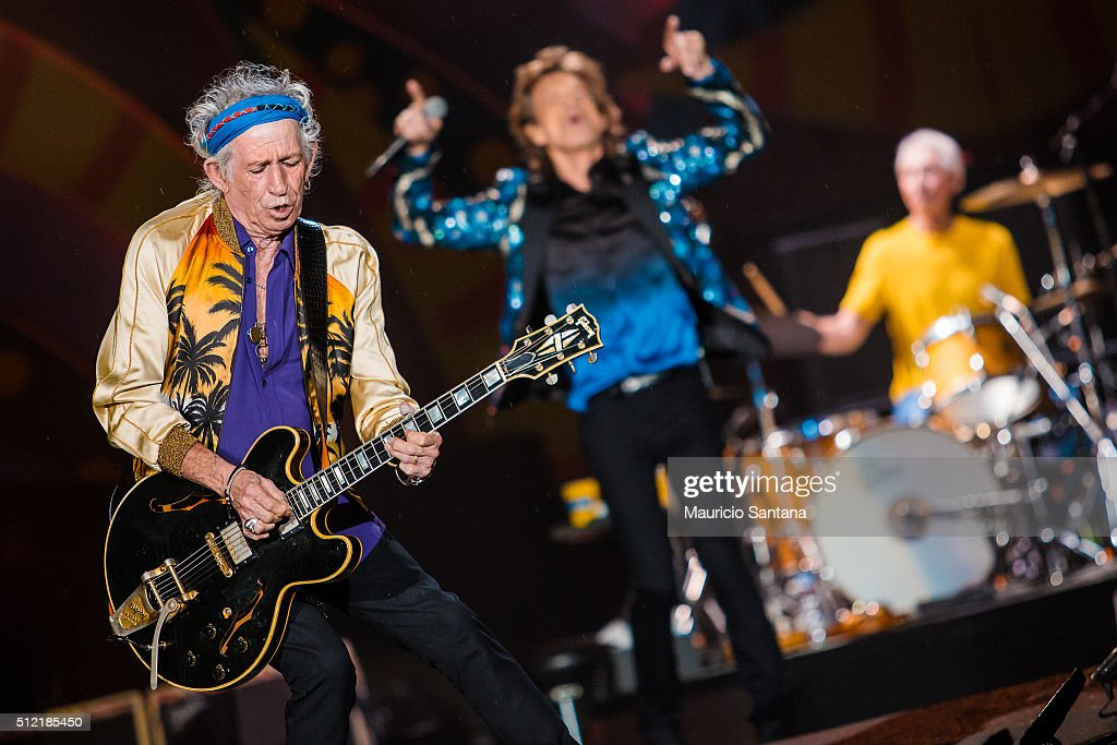 Rolling Stones performs live on stage at Morumbi Stadium on February 24, 2016 in Sao Paulo, Brazil.