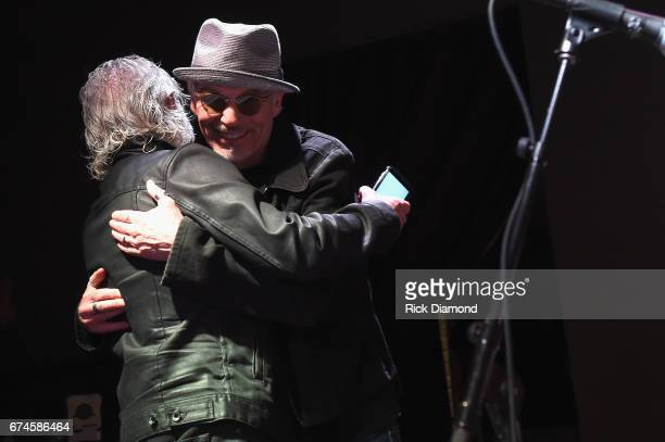 Rolling Stones pianist and musical director Chuck Leavell and Academy Awardwinning actor Billy Bob Thornton rehearse onstage during the White House...