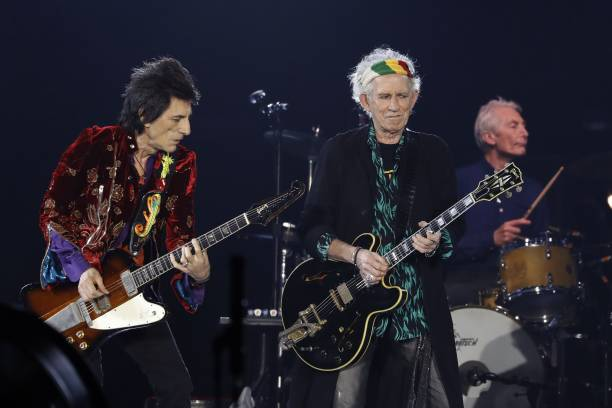 Rolling Stones Ron Wood L Keith Richards C And Charlie Watts