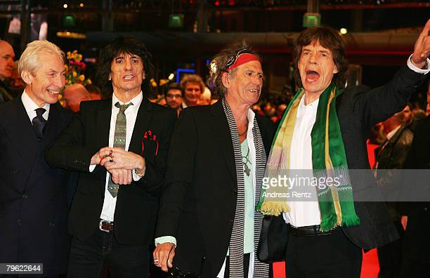 Rolling Stones singer Mick Jagger and band members Charlie Watts Ronnie Wood and Keith Richards attend the 'Shine A Light' Premiere as part of the...