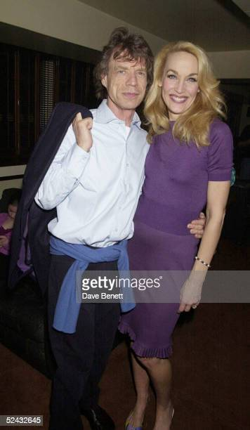 Rolling Stones singer Mick Jagger and his exwife model Jerry Hall at her farewell party after her last nigh in 'The Graduate' held at Teatro's on...