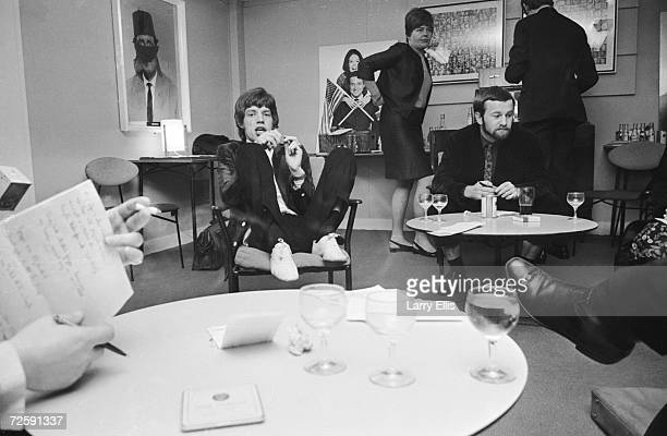 Rolling Stones singer Mick Jagger in the green room before his appearance on the Eamonn Andrews show, 5th February 1967.