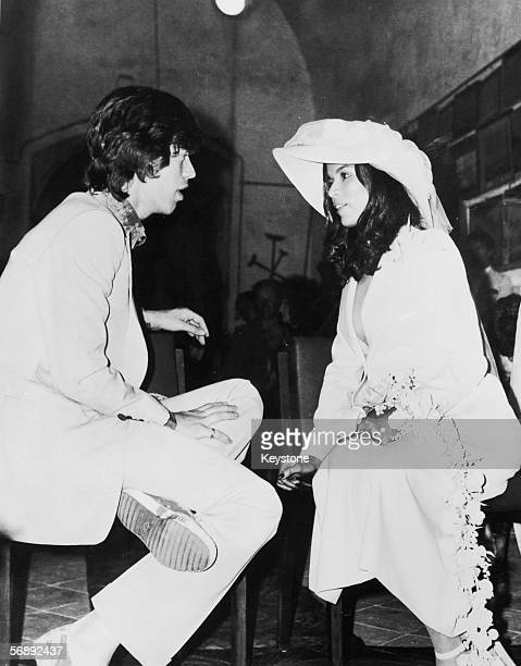 Rolling Stones singer Mick Jagger with his new bride Bianca Perez Morena de Macias at the Chapel of St Anne in SaintTropez southern France 12th May...