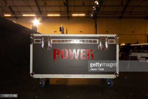 rolling storage stage locker with the word power spray painted on it - pre labeled stock pictures, royalty-free photos & images