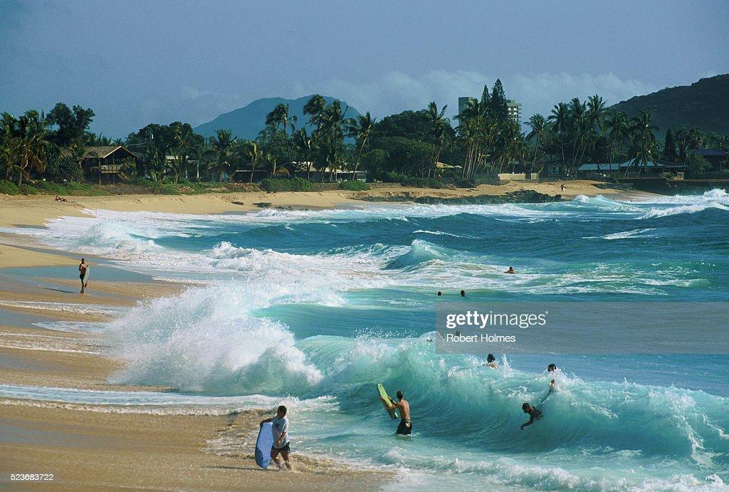 Rolling Surf on Makaha Beach : Stock Photo