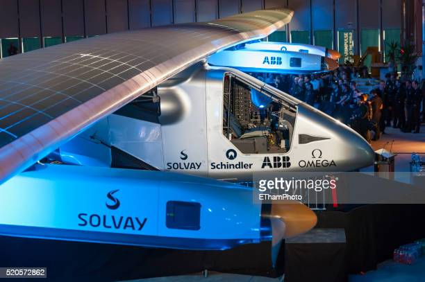 Rollout of the 'Solar Impulse 2' aircraft at Payerne, Switzerland.