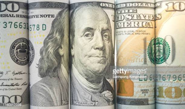 rolls dollar banknotes. dollar currency money. banknotes stacked on each other in different positions - money politics stock pictures, royalty-free photos & images